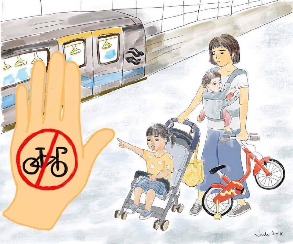 身為台北市的住民,當我們能夠選擇無車的生活方式時,為何帶孩子出門騎腳踏車卻是寸步難行? 圖/張楚忱,特公盟提供
