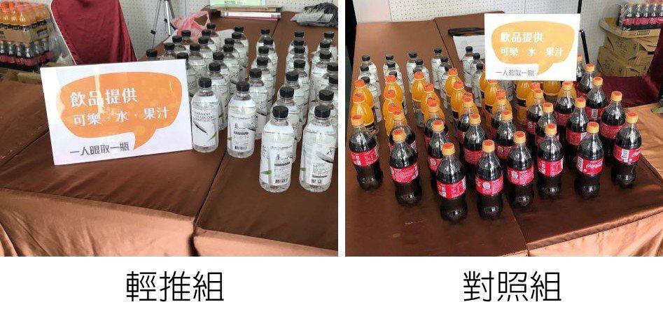 「輕推組」與對照組的報到桌上都告示有可樂、果汁、礦泉水,但「輕推組」的報到桌優先...