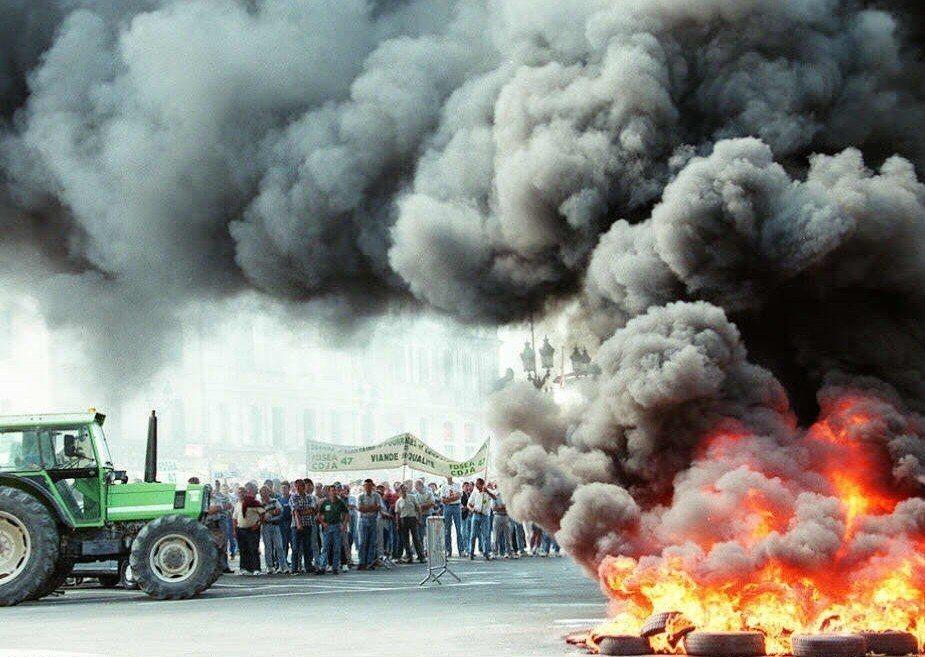 1996年抗議狂牛症補貼不足。 圖/法新社