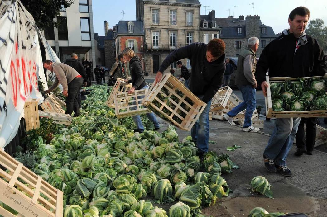 抗議蔬菜價格崩盤。 圖/法新社