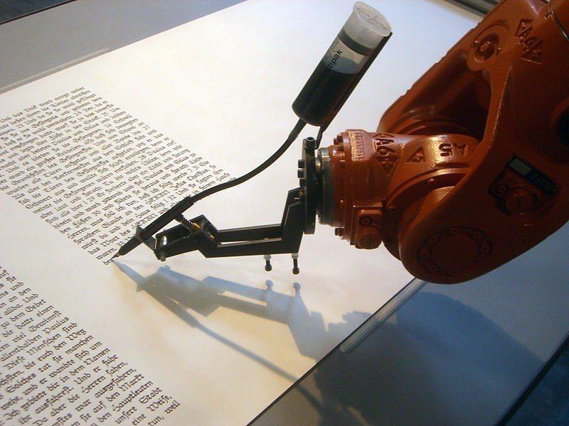 Robotlab 生產的 'bios [bible]' 工業用機器人,就像繕寫室...