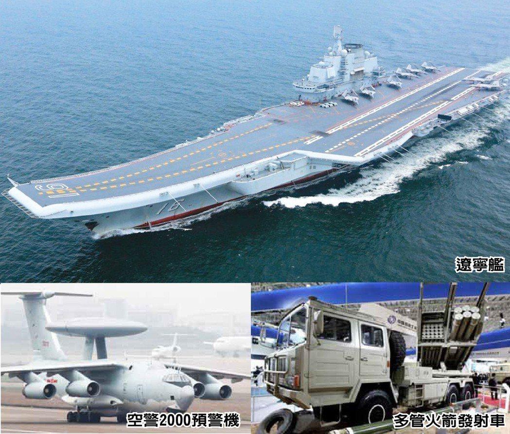 中共持續增加海、空軍、火箭軍及戰略支援部隊等戰力。 圖/取自國防報告書、新華社