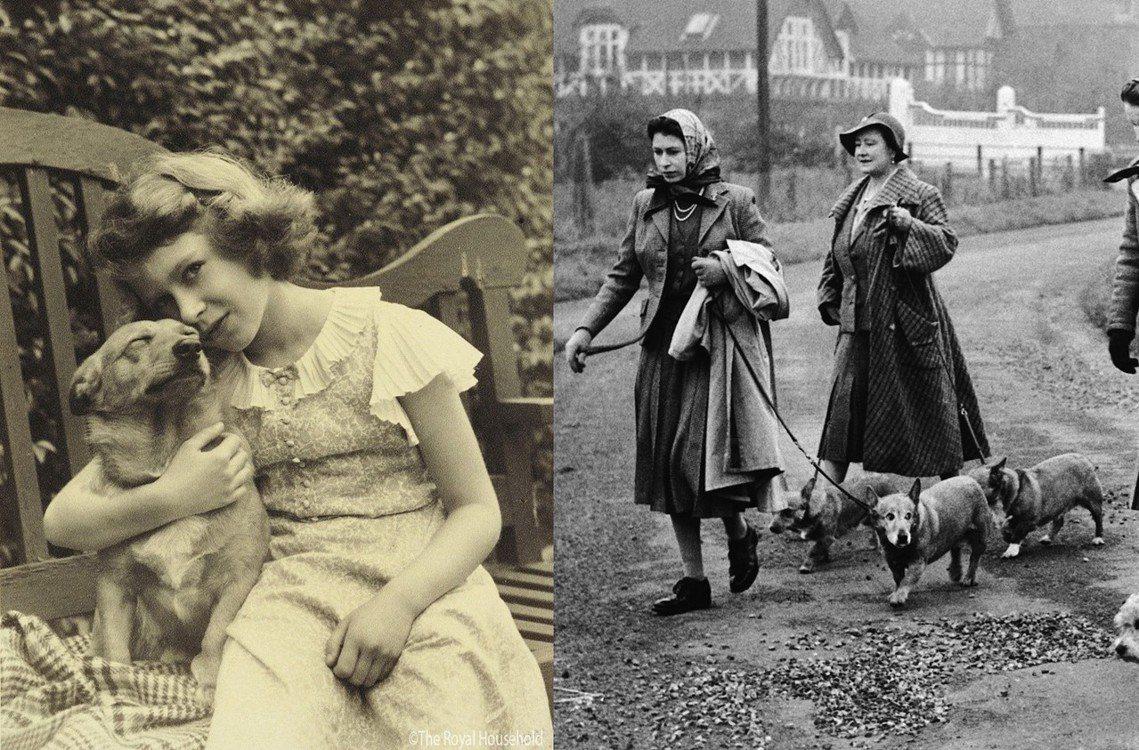 圖左為女王小時候與杜基;圖右為女王年輕時與其母親一起溜柯基。 圖/英國王室官方臉...