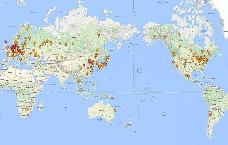 羅晟文搜尋出全世界上139個白熊圈養機構(2014年資料),包含動物園、海生館、保育園區、野生園區等,其中紅色標注是已經完成拍攝的地點(歐洲2014年14處,2016年2處、中國2015年10處)。 圖/羅晟文提供