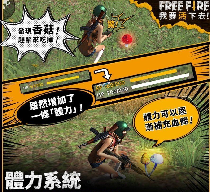 於野外尋找蘑菇增加體力來提升在遊戲中生存的機會。