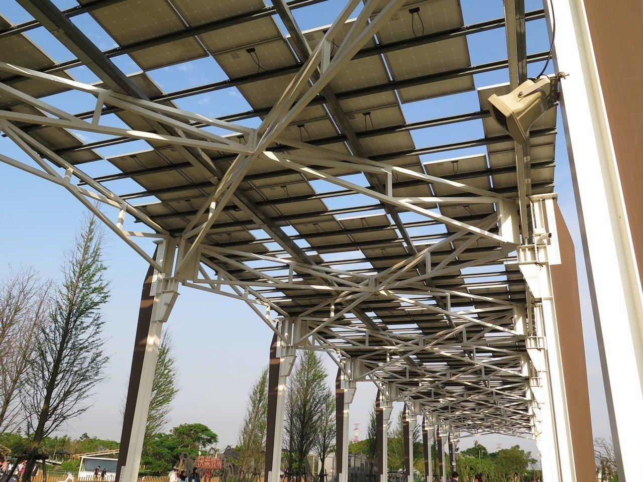 桃園農業博覽會園區有多項風力發電與太陽能發電設施,透過儲電系統,園區發電完全自給...