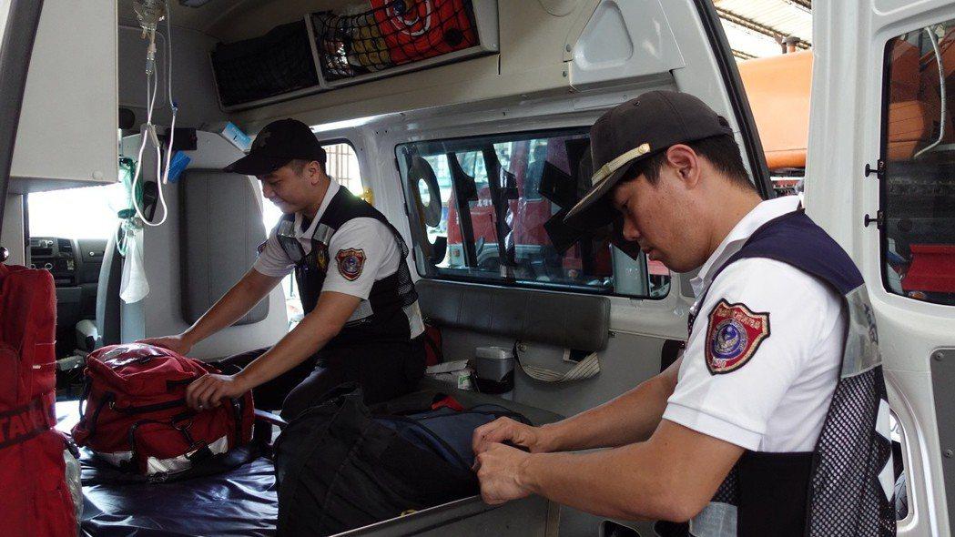 高市消防局鳳山分隊高市緊急救護量出勤案件最多者,也是全國第二高。 記者劉星君/攝...