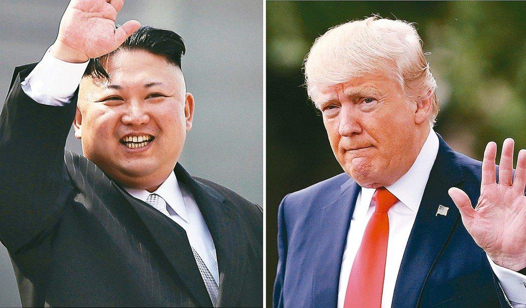 金正恩(左)、川普(右) 美聯社