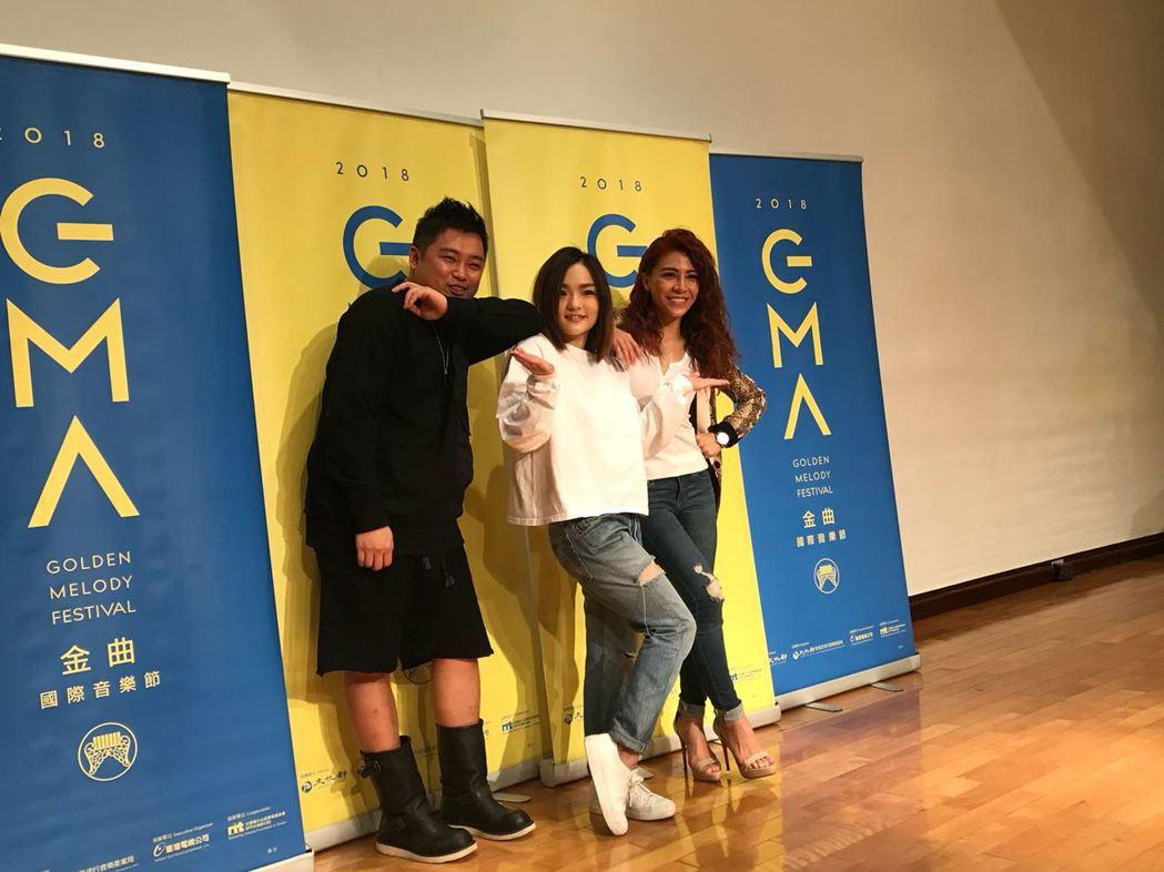 艾怡良(右起)、徐佳瑩、左光平21日出席金曲國際音樂節前進校園活動。圖/台視提供