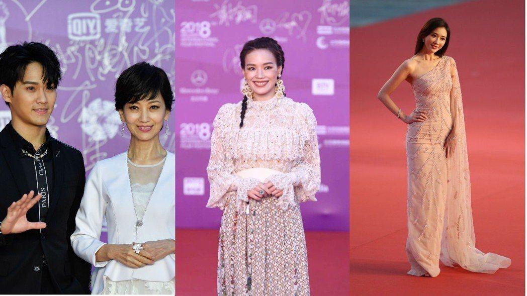 趙雅芝(左)、舒淇(中)以及林志玲(右)出席出席北京國際電影節閉幕式。 圖/摘自