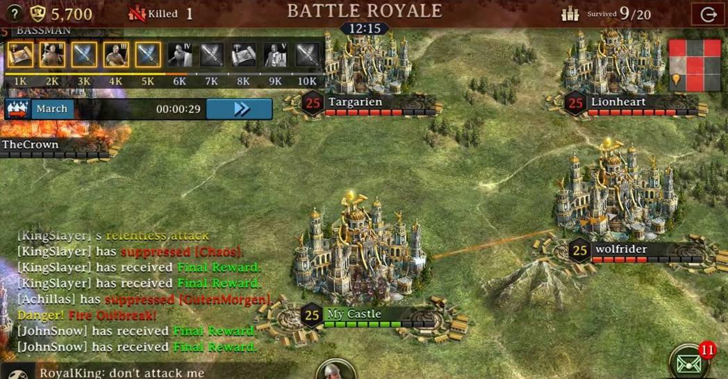 在皇家之戰中能不失去兵力與資源的享受戰鬥。