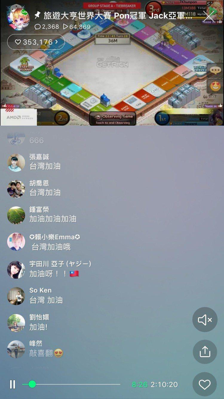 收看直播、在直播中拼命加油的台灣玩家們