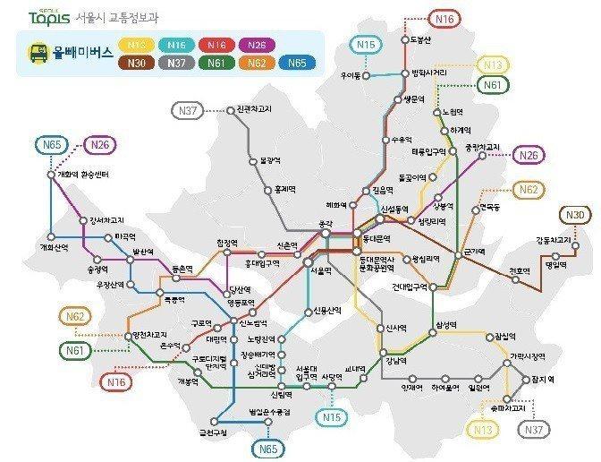 首爾深夜巴士路線圖 首爾資訊課官網