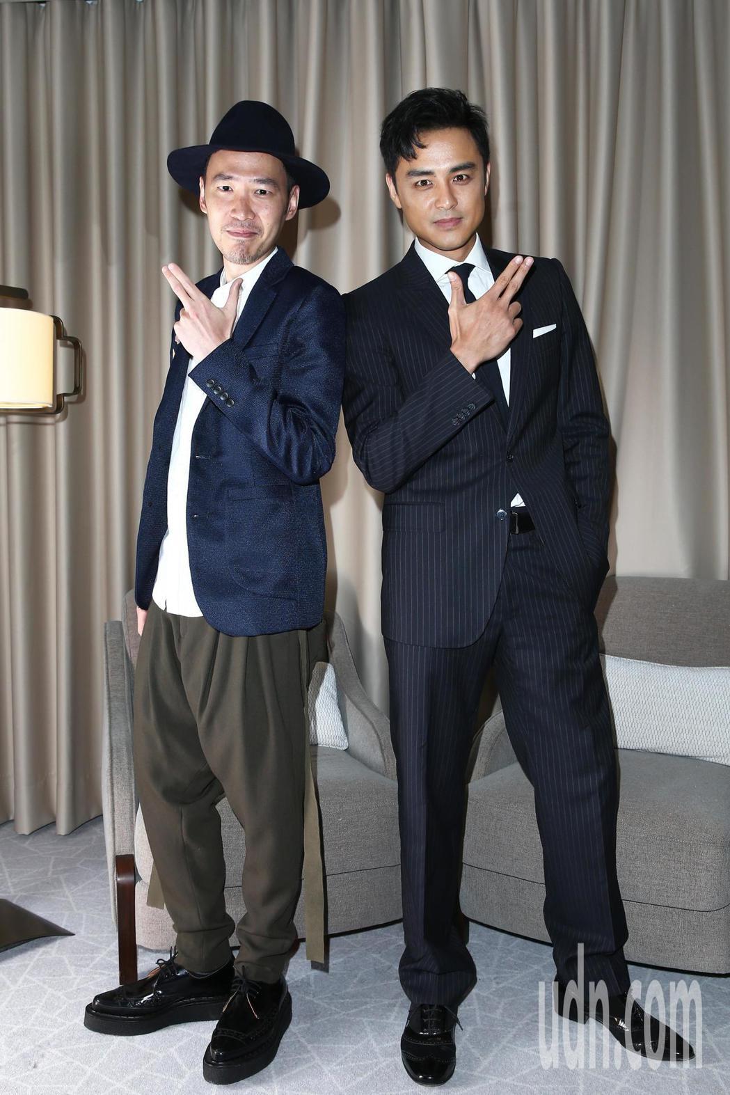 「市長夫人的秘密」演員張少懷(左)與明道(右)下午接受聯訪,分享各自吻陳喬恩的感...