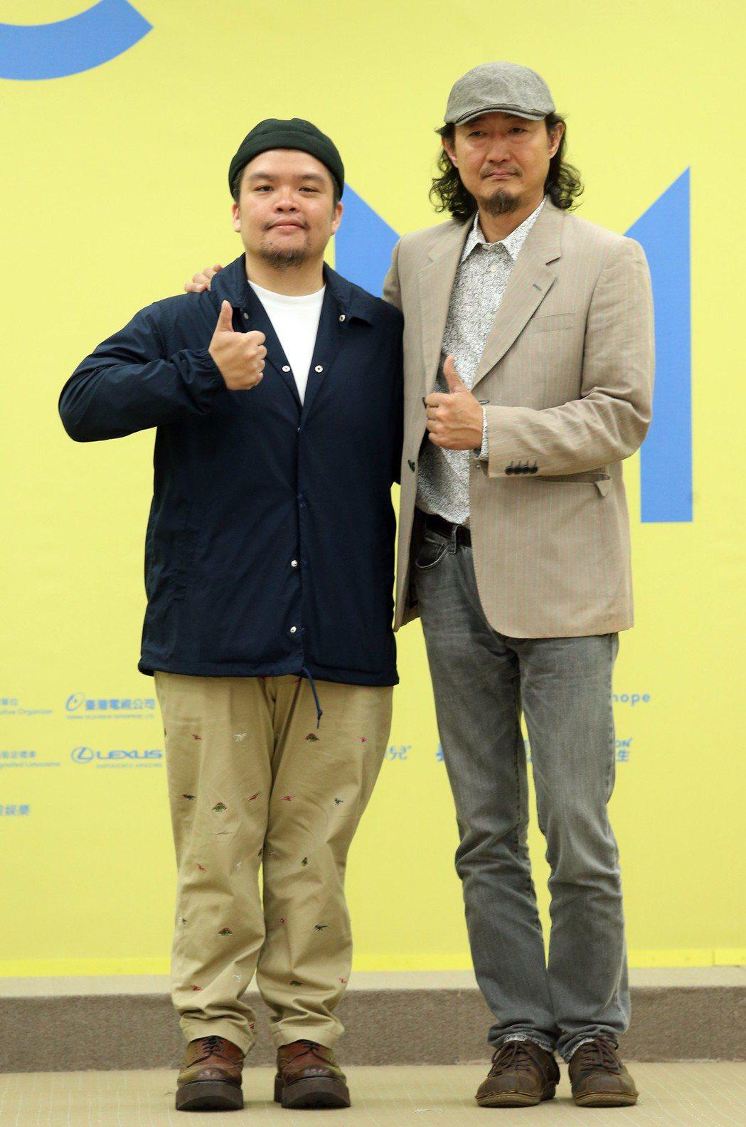 迪拉胖(左)、鍾興民(右)出席金曲音樂節起跑儀式。記者徐兆玄/攝影