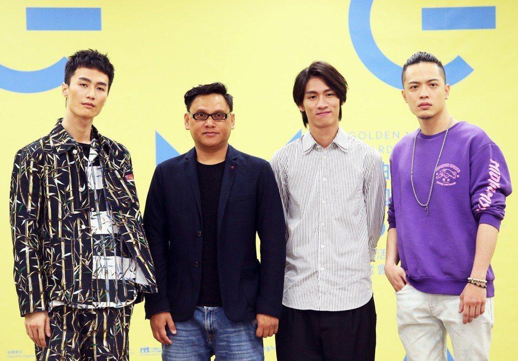 李英宏(左起)、桑布伊、柯智棠、J.Sheon出席金曲音樂節起跑儀式。記者徐兆玄