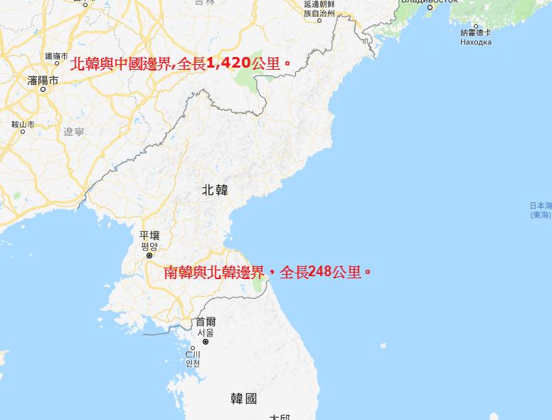 三八線綿延朝鮮半島248公里。圖片來源/谷歌地圖