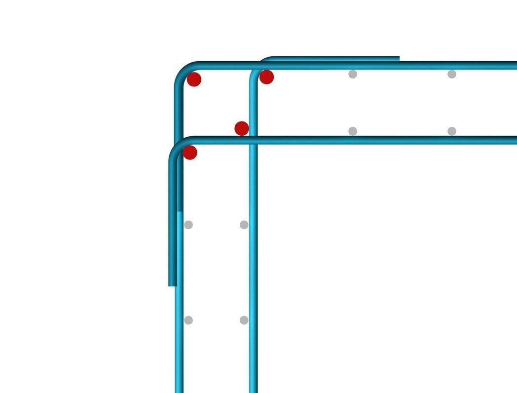 ■牆轉角平面示意圖。