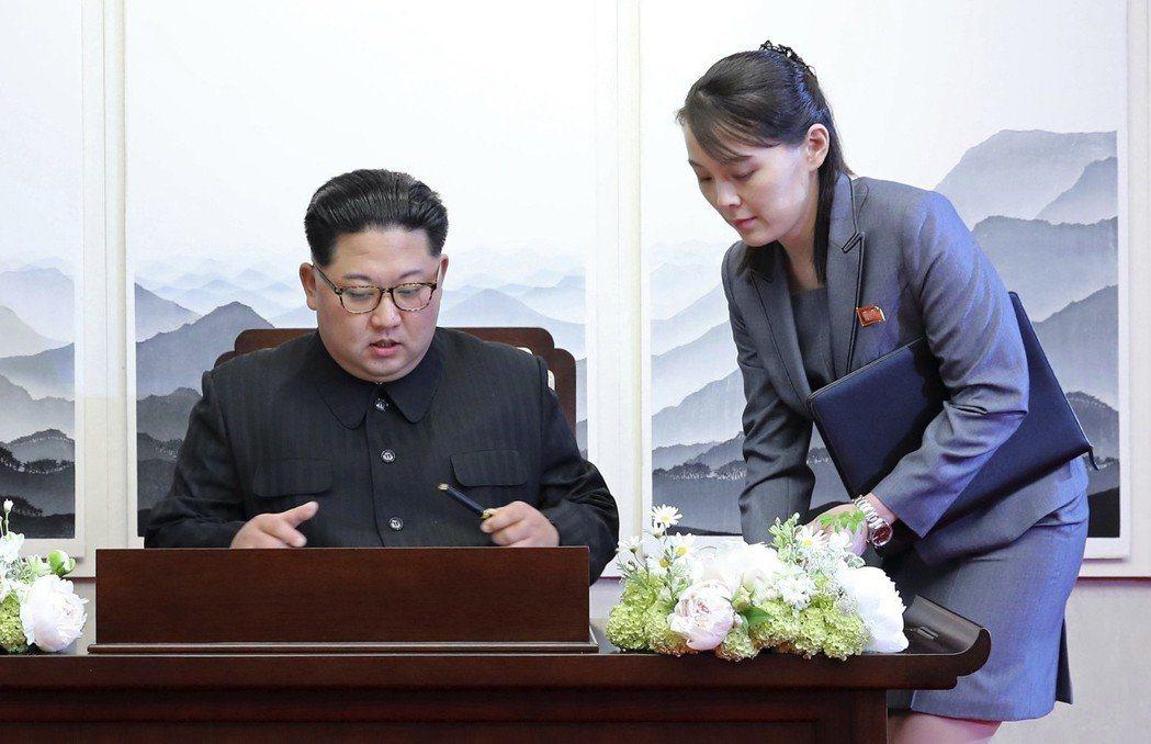 北韓領導人金正恩的胞妹金與正(右)在兩韓峰會現場,化身金正恩小助理,金正恩進入和...