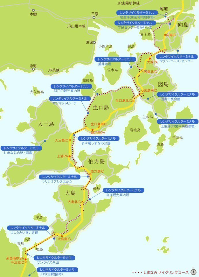 ▲島波海道路線圖。 (photo by 今治地方觀光協會)
