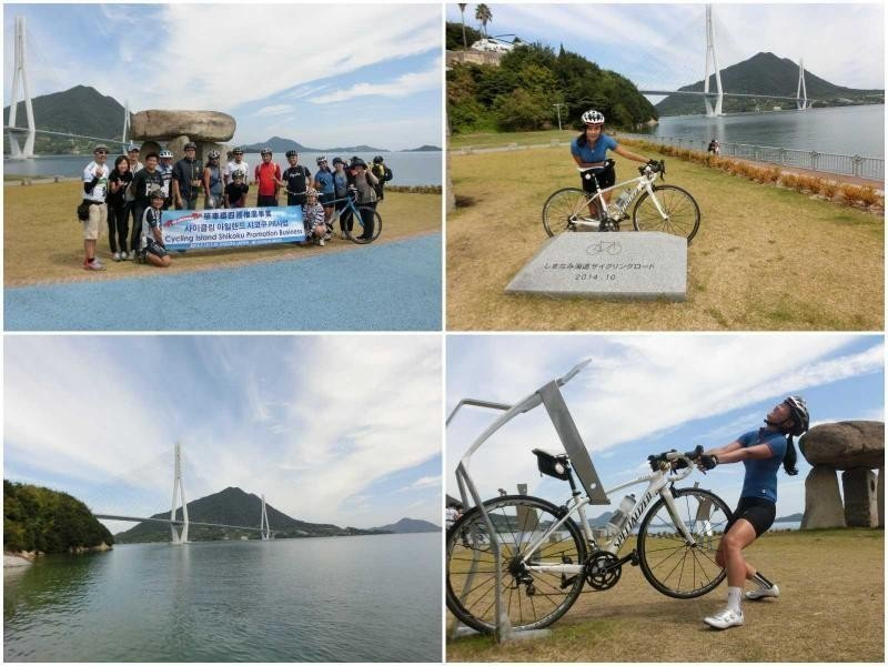 ▲多多羅島波公園位在廣島與愛媛的縣界,在這裡島波海道和台灣的「日月潭自行車道」締...
