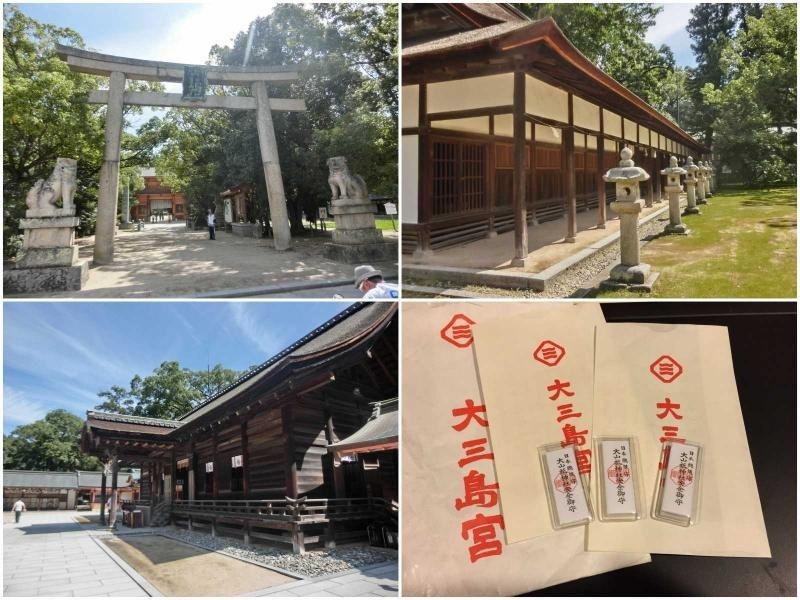 ▲大三島神社有可以貼在安全帽內的交通安全御守,是車友們來到島波海道最棒的伴手禮。...