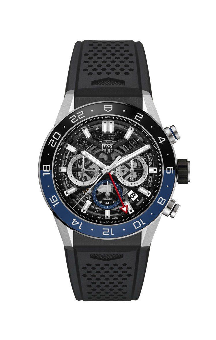 泰格豪雅Carrera Heuer 02 GMT兩地時間腕表,精鋼表殼搭配陶瓷表...