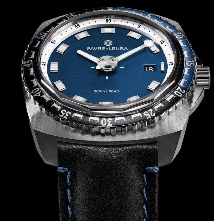 域峰Raider系列Deep Blue潛水腕表,精鋼表殼搭配單向旋轉表圈,表徑4...