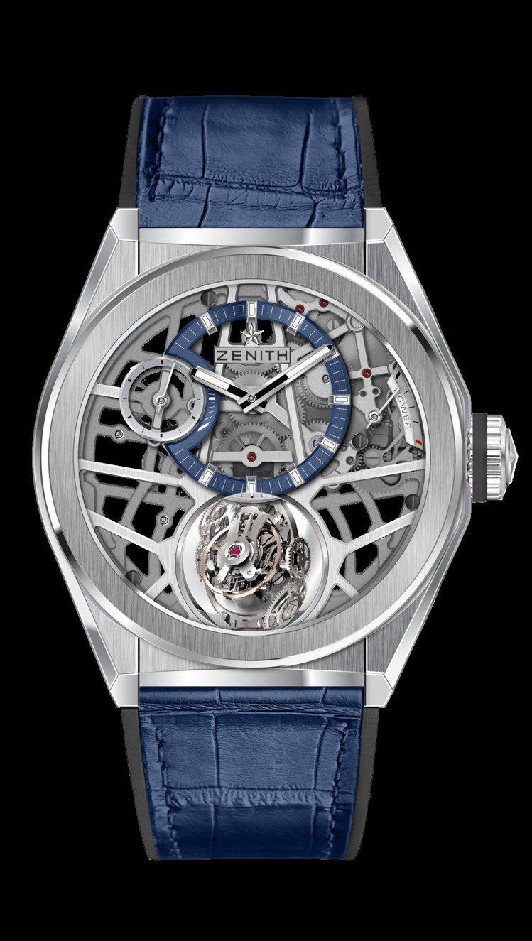 真力時Defy Zero G陀螺儀腕表,鈦金屬表殼搭配藍色鱷魚皮表帶,約329萬...