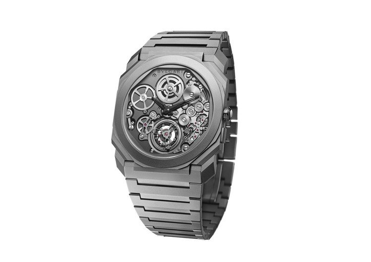 寶格麗Octo Finissimo自動上鍊陀飛輪腕表,噴砂鈦金屬表殼,限量50只...