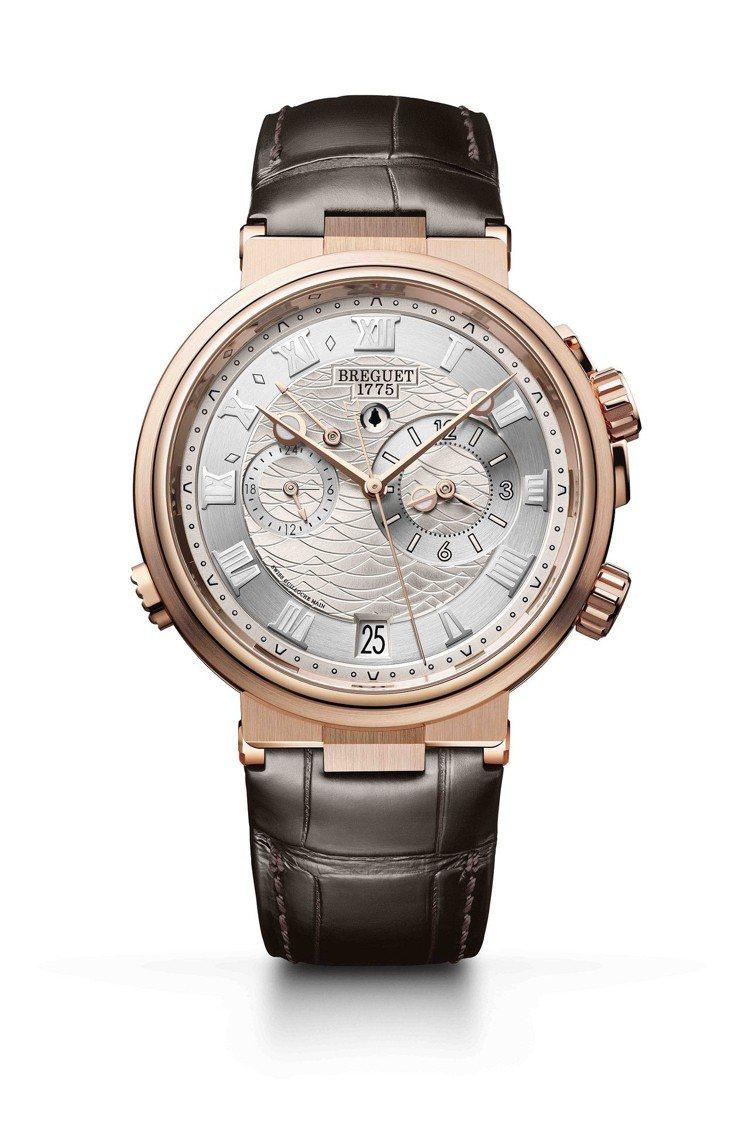 寶璣航海系列兩地時間鬧鈴腕表,40毫米18K 玫瑰金配鍍銀金面盤,131萬8,0...
