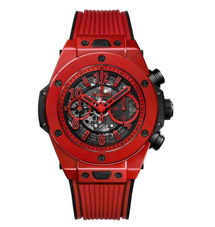 宇舶Big Bang Unico魔力紅陶瓷腕表,拋光紅色陶瓷,搭載HUB1242...