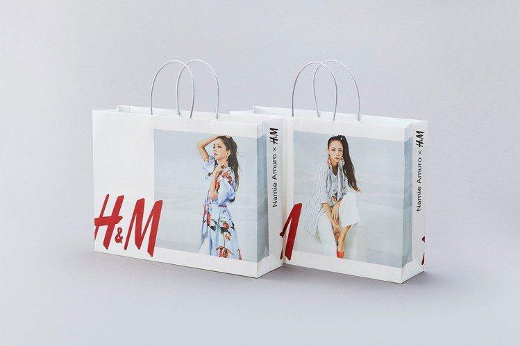 H&M也特製了印有安室奈美惠這系列形象廣告的提袋,僅限於日本門市才有。圖/摘自H...