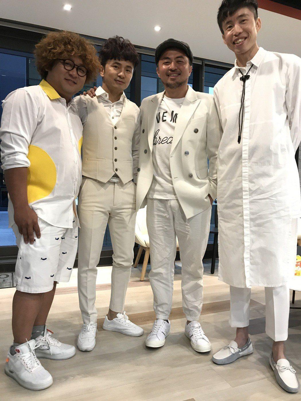 納豆(左起)、從從、老K、陳志鴻都是當年「全民大悶鍋」班底,如今合作打造娛樂事業
