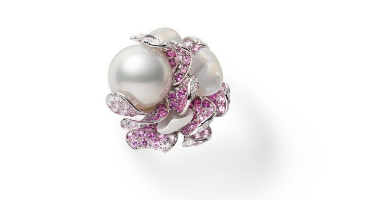 MIKIMOTO Praise to Nature 頂級珠寶系列南洋珍珠牡丹花彩...