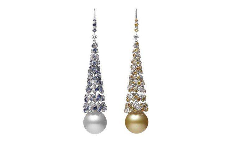 MIKIMOTO Praise to Nature頂級珠寶系列南洋珍珠鑽石耳環,...