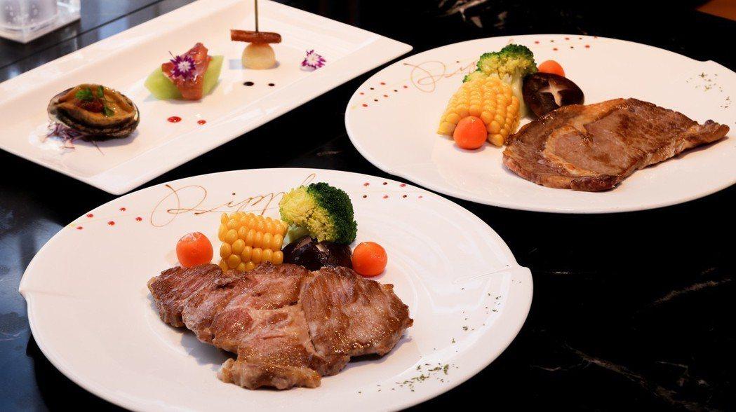 西餐廳中午主餐為西班牙伊比利豬莎朗(圖左)及美國沙朗二選一,圖左上則為五味醬鮑魚...