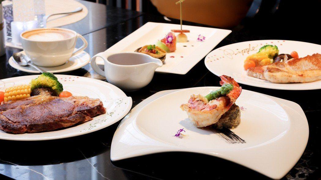 晚餐主菜綿羊豬(右後)及美國肋眼沙朗牛排(左)二選一,除了搭配三道開胃菜,還加上...