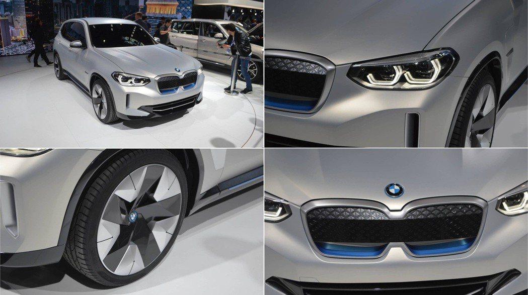 BMW Concept iX3的車身增添了些許的藍色配色點綴。 摘自Motor ...