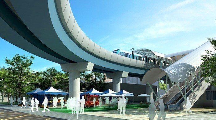新店安坑輕軌站體模擬圖 。 圖片來源/新北市政府捷運工程局