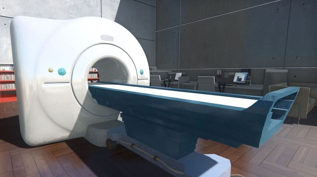 朝陽科技大學資訊學院研發團隊協助開發台中榮總MRI幽閉恐懼症衛教系統。圖/朝陽科...