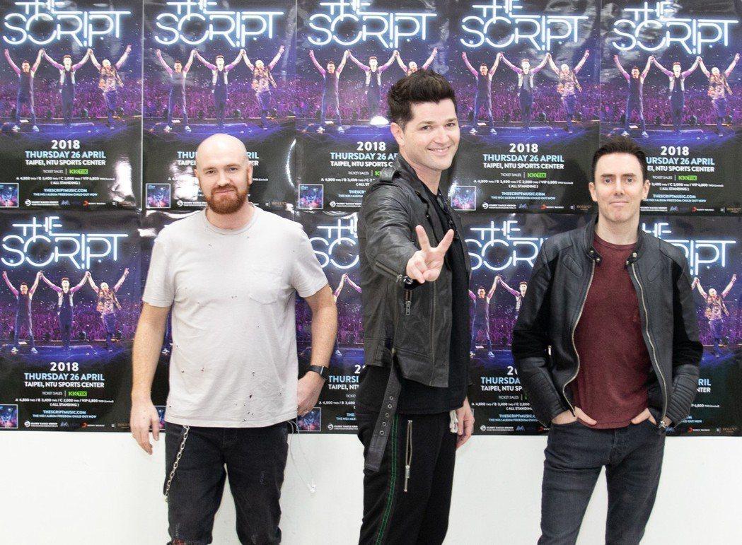 愛爾蘭搖滾團體「手創樂團(The Script)」成軍10年,26日來台開唱。圖...