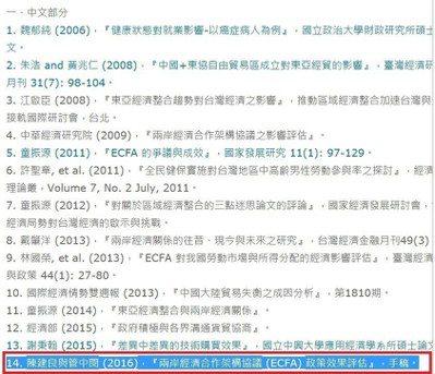 張生在論文「參考文獻」中文部分列舉的參考文獻中,第14篇列舉了「陳建良與管中閔 ...