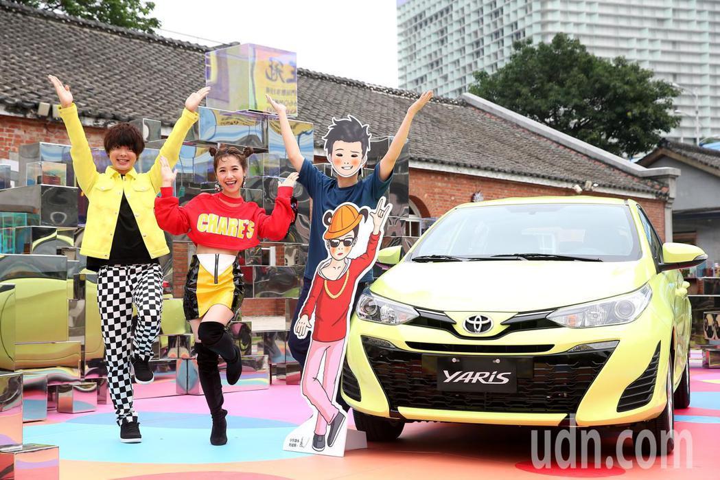 藝人Lulu(中)、網紅三原慧悟(左)與春桃(右)代言TOYOTA展覽。記者余承...