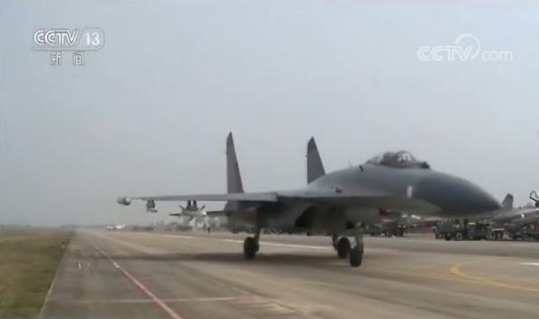 中共殲-11戰機。圖/截自央視