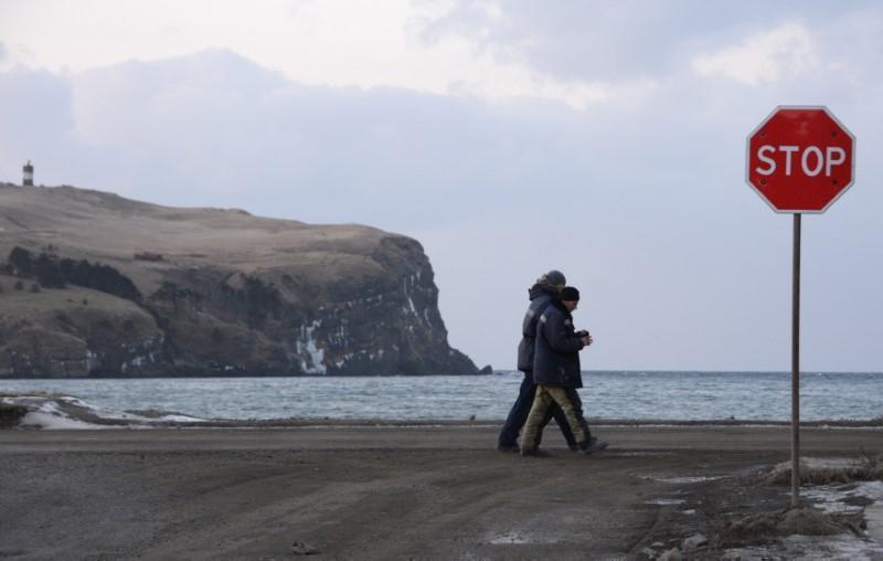 國後、擇捉、齒舞和色丹四個島嶼被俄羅斯稱為南千島群島,日本則稱為北方四島。圖為色...