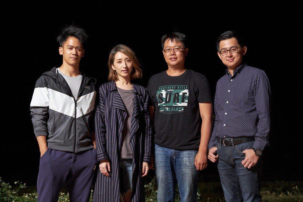 李淳(左1)與柯佳嬿(左2)在國片「九餅、薄荷與夏天」裡面再次合作,右2為導演賴...