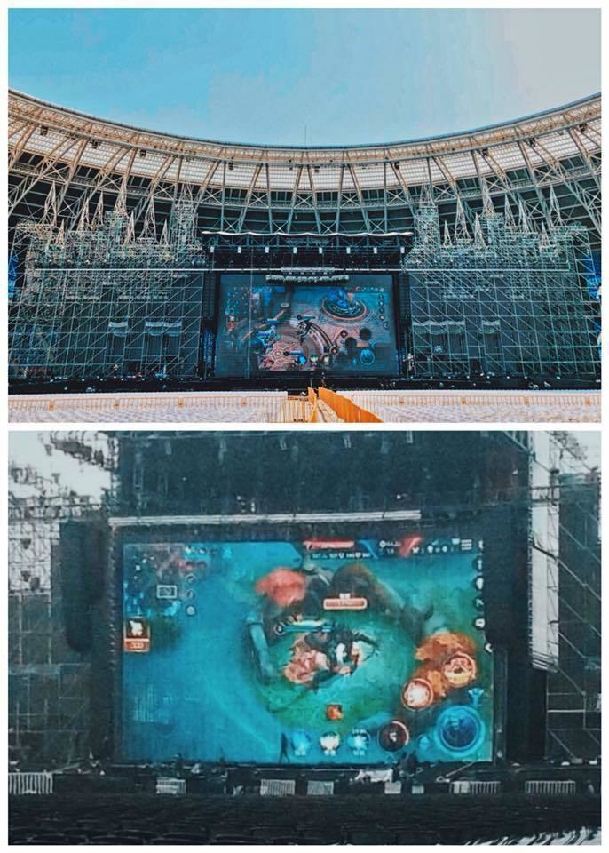 阿信在臉書發文「用演唱會的大屏幕就是狂」。圖/摘自阿信臉書