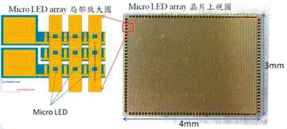 Micro LED晶片檢視圖。 圖/陸普提供