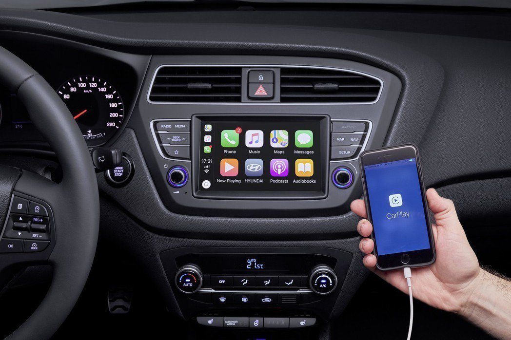 小改款Hyundai i20支援Apple CarPlay。 摘自Hyundai